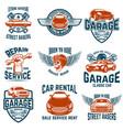car repair garage auto service emblems design