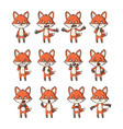 cartoon fox set vector image vector image
