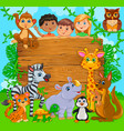 cartoon happy cute kids with animal wooden banner vector image