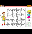 cartoon maze game with boy and girl vector image vector image