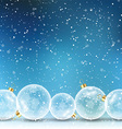 christmas baubles on snowy background 1409 vector image vector image