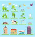 city in flat style icons and vector image vector image
