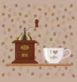 coffee mill with cup on background of coffee beans vector image