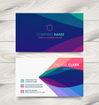 colorful purple stylish business card template vector image vector image