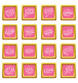 comic colored sound icons pink vector image vector image