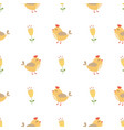 cute bird seamless pattern yellow summer flowers vector image vector image