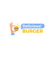 delicious burger hand with a small hamburger vector image