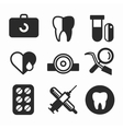 Dental icons set clinic logo vector image