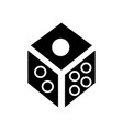 dice - game cube icon black vector image