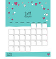 february 2019 wall calendar doodle style vector image vector image