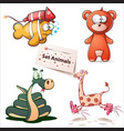 fish bear snake giraffe - set animals vector image