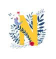 floral alphabet letter n vector image vector image