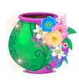 flowerpot decorated with flowers isolated on white vector image vector image