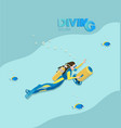 girl scuba diver with underwater scooter vector image