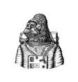 gorilla astronaut character monkey spaceman vector image