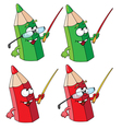 green and red school pencils vector image vector image
