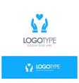 hand love charity blue logo vector image