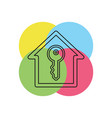 house key unlock house isolated vector image