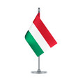 hungarian flag hanging on the metallic pole vector image vector image