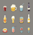 isometric retro flat alcohol beer juice tea wine vector image