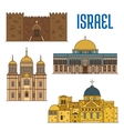 Israel architecture and famous buildings vector image vector image