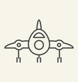 jet fighter front view thin line icon airplane vector image