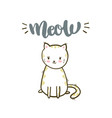 meow brush calligraphy cute little cat vector image