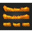 Merry christmas and happy new year 2017 writing on vector image vector image