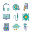 music melody sound audio icons set line and fill vector image vector image