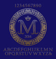 patterned gold letters and numbers with monogram vector image vector image