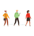 people characters in medical masks walking vector image vector image