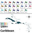 Political map of Caribbean with flags