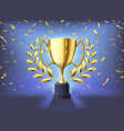 realistic golden cup winners trophy celebration vector image vector image