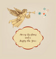 retro christmas card angel and frame for greeting vector image