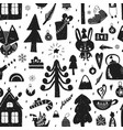 seamless forest christmas pattern vector image vector image