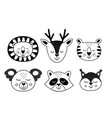 set of isolated black lovely animal faces vector image