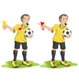 Set soccer referee whistles and shows card vector image vector image
