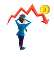 shocked businessman looking on bitcoin crash graph vector image