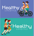 sport banners people healthy lifestyle activity vector image vector image
