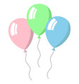 three balloons pastel colors on white background vector image
