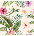 tropical vivid flowers leaves seamless background vector image vector image