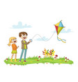 two kids fly a kite vector image