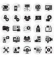 video blog icons set on circles background for vector image