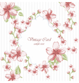 Watercolor pink Flowers frame on retro polka dots vector image vector image