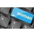 woman word on keyboard key button Keyboard keys vector image vector image