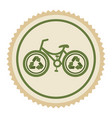 green emblem eco bicycle icon vector image