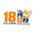 18 year gift box ribbon anniversary vector image vector image