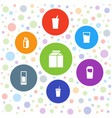 7 drinking icons vector image vector image
