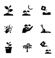 black growing icon set vector image vector image