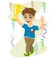 boy celebrating his victory waving his trophy vector image vector image